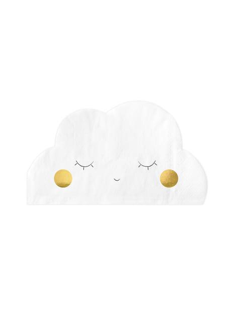 20 servilletas blancas con forma de nube de papel (32x19 cm) - Golden Sky