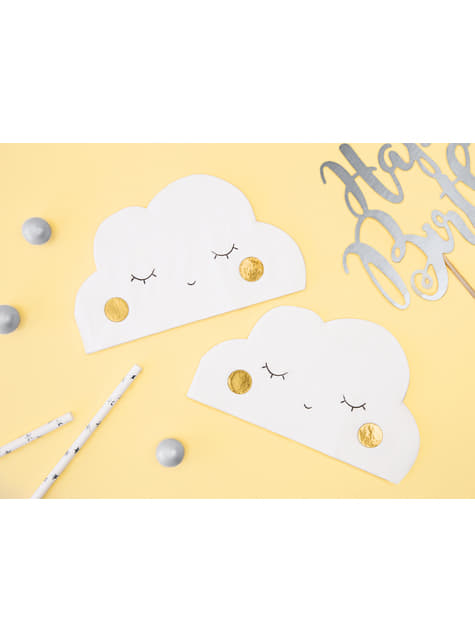20 Cloud-Shaped Paper Napkins, Whit (32x19 cm) - Little Plane