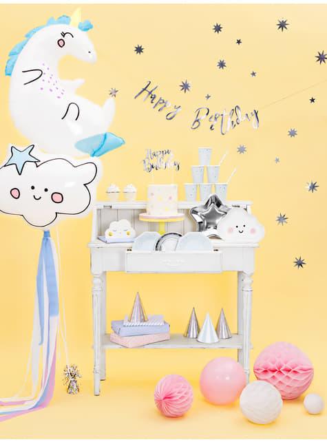 20 servilletas blancas con forma de nube de papel (32x19 cm) - Golden Sky - barato