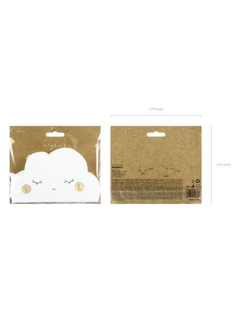 20 servilletas blancas con forma de nube de papel (32x19 cm) - Golden Sky - para niños y adultos