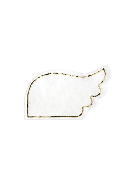20 servilletas con forma de ala blanca de papel (32x20 cm) - Little Plane