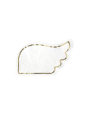 Zestaw 20 białe papierowe serwetki w kształcie skrzydła - Little Plane