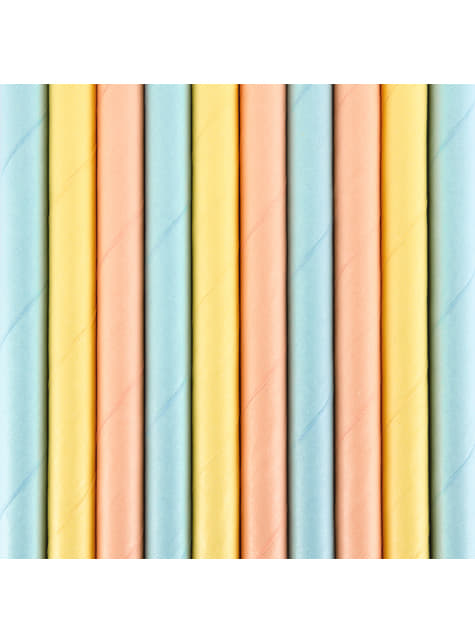 10 pailles multicolores en papier - Summer Time