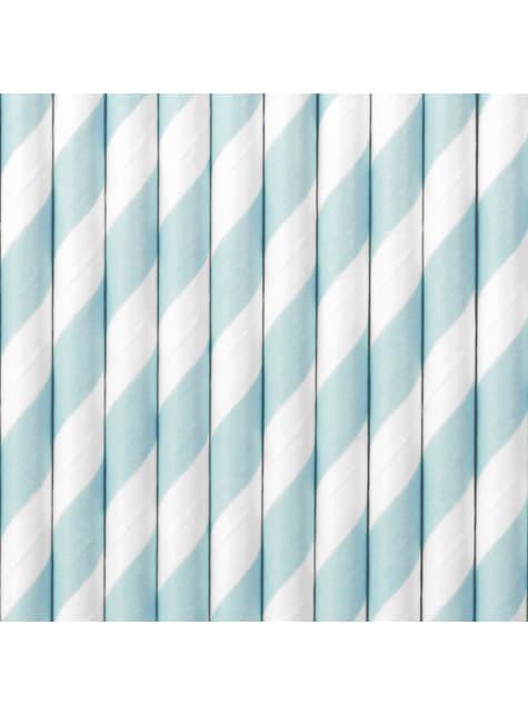 10 pailles bleues clair à rayures blanches en papier - Dusty Blue