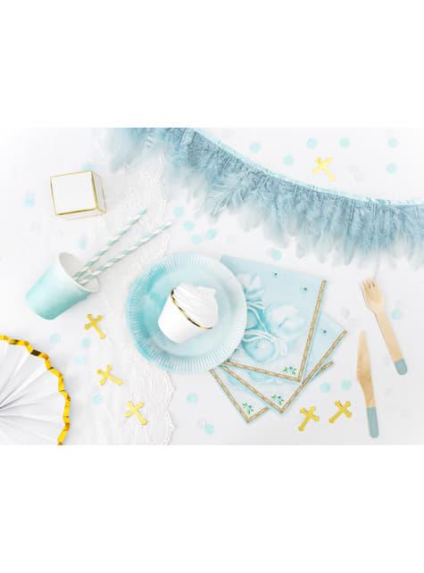 10 pajitas azules claro con rayas blancas de papel - Dusty Blue