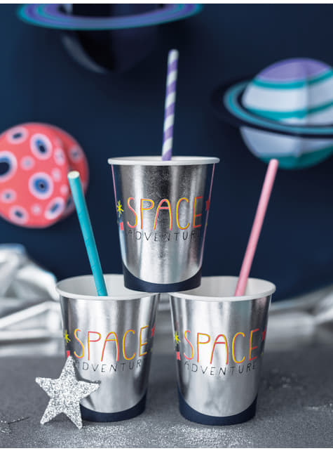 10 Purple Paper Straws with White Stripes - Space Party