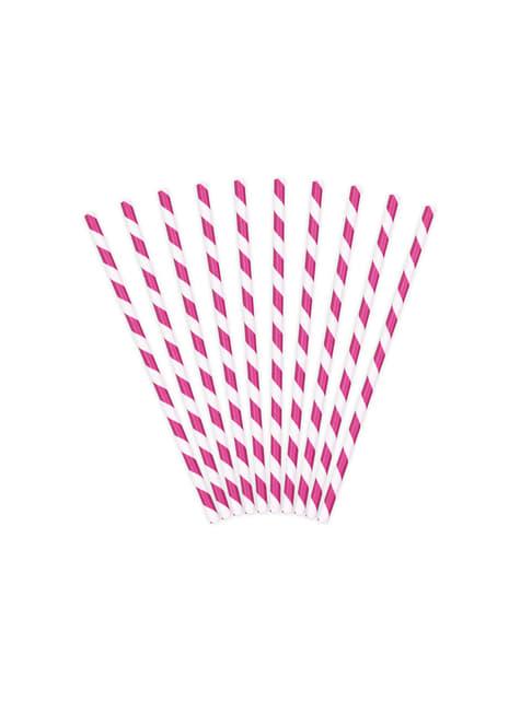 10 pajitas rosas oscuro de papel - Princess Party