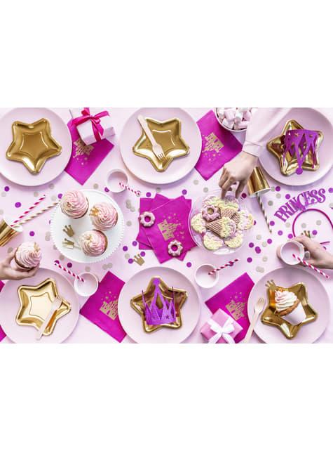 10 pailles roses foncé en papier - Princess Party