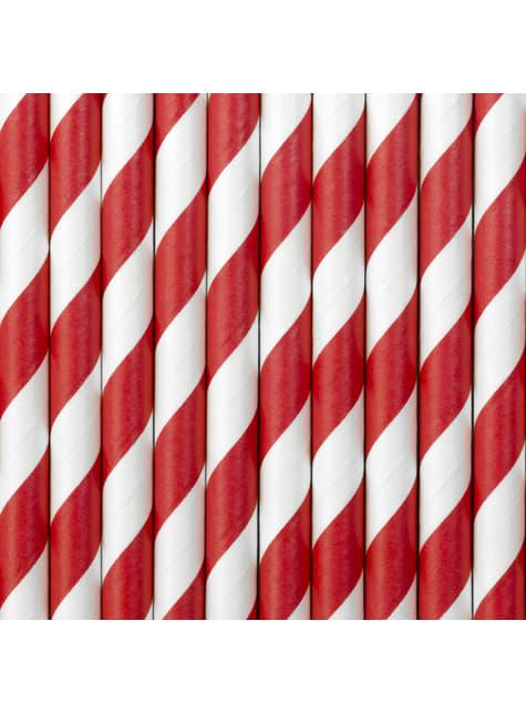 10 pajitas rojas con rayas blancas de papel - Pirates Party