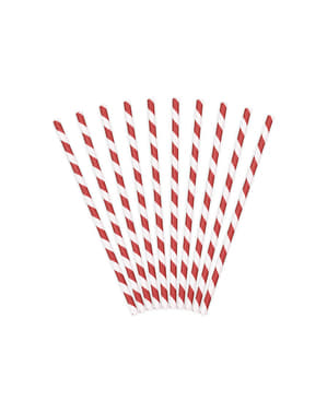 10 Red Paper Straws with White Stripes - Pirates Party