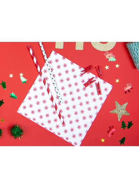10 pailles rouges à rayures blanches en papier - Pirates Party