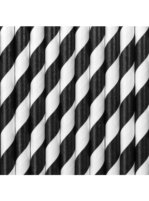 10 pajitas negras con rayas blancas de papel - Pirates Party