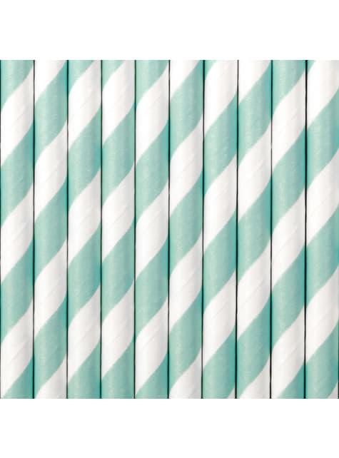 10 pailles bleues ciel en papier - Blue 1st Birthday