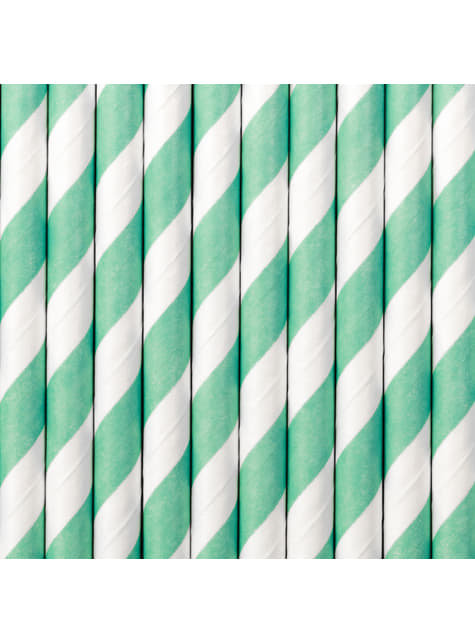 10 pailles bleues turquoise en papier - Aloha