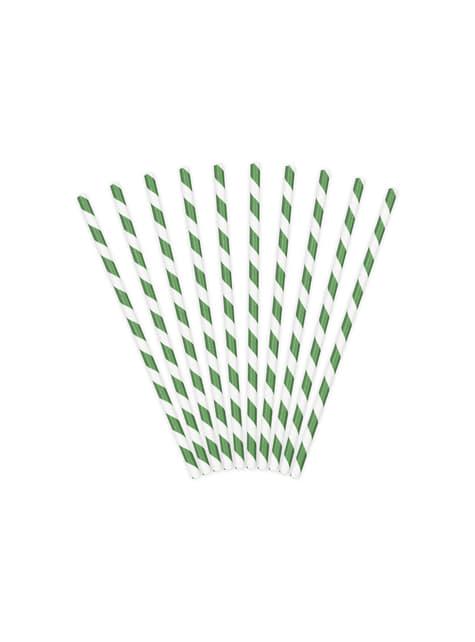 10 pajitas verdes de papel
