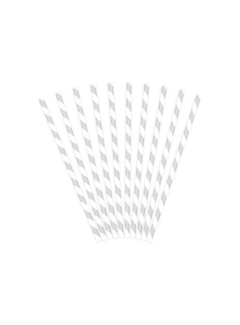 10 pailles argentées en papier