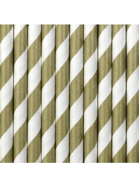 10 pajitas doradas de papel