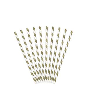 10 pailles dorées en papier