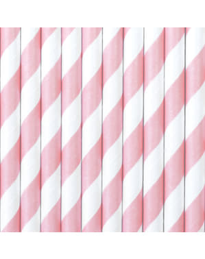 10 pastel roze papieren rietjes - Eenhoorn