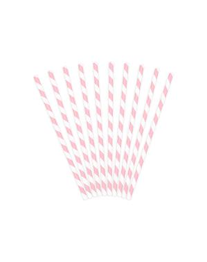 10 pailles roses pastel en papier - Unicorn