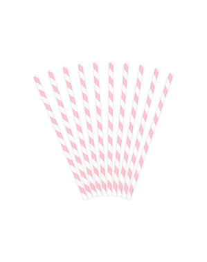 10 Pastel Pink Paper Straws - Unicorn