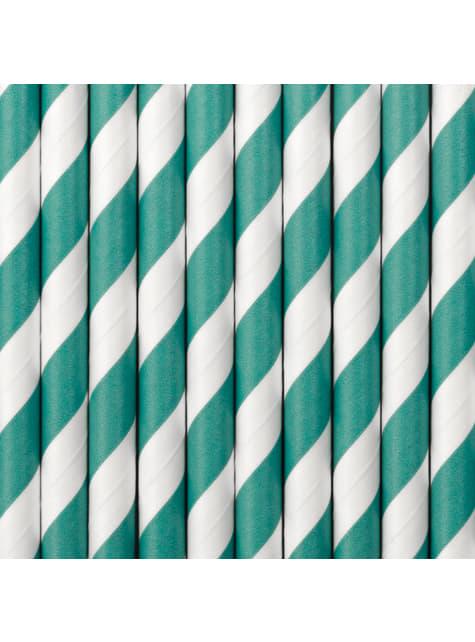 10 pailles à rayures turquoises en papier