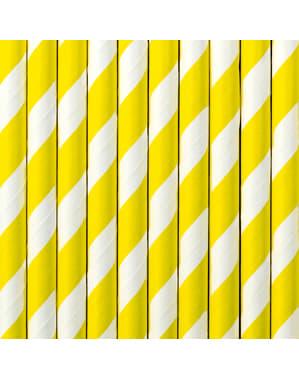 10 pajitas amarillas de papel - Aloha