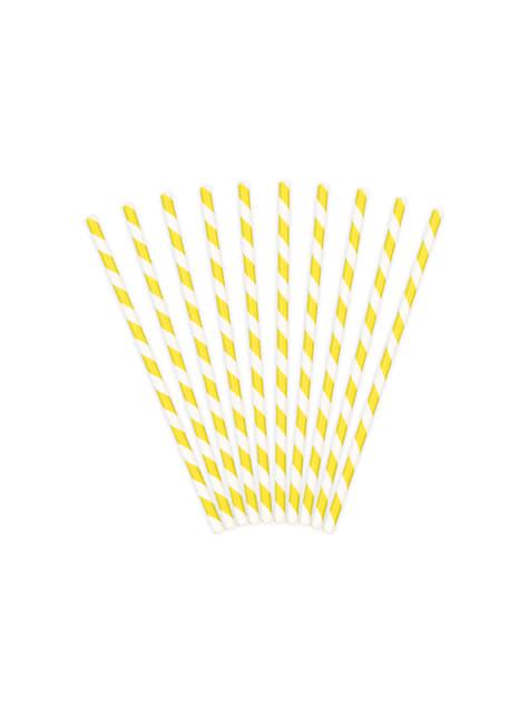 10 pajitas amarillas de papel - Aloha - para tus fiestas