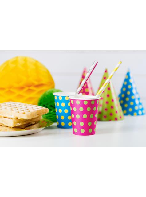 10 pajitas amarillas de papel - Aloha - para niños y adultos