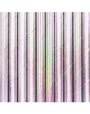 Set 10 duhových papírových slámek - Iridescent