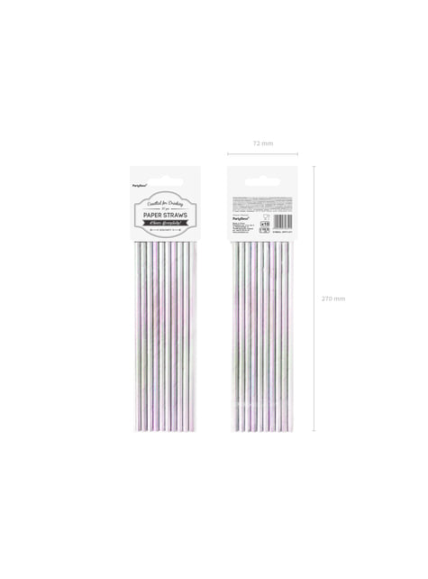 10 pajitas iridiscentes de papel - Iridescent - para decorar todo durante tu fiesta