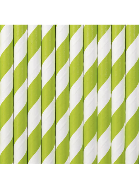 10 pajitas con rayas verdes claro de papel