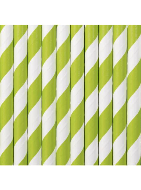 10 paperipilliä vaaleanvihreillä raidoilla
