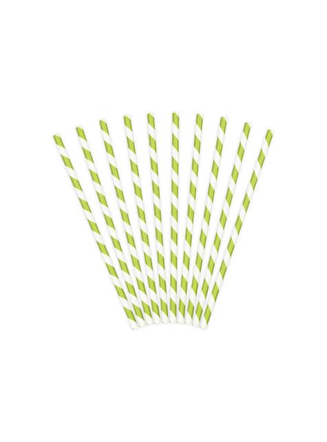 10 pajitas con rayas verdes claro de papel - para tus fiestas
