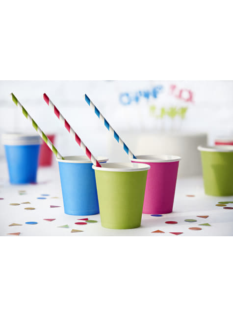 10 pailles à rayures vertes clair en papier