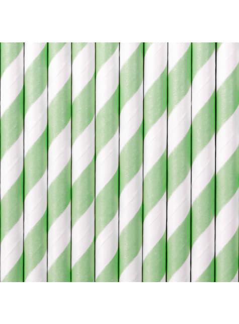 10 paperipilliä mintunvihreillä raidoilla