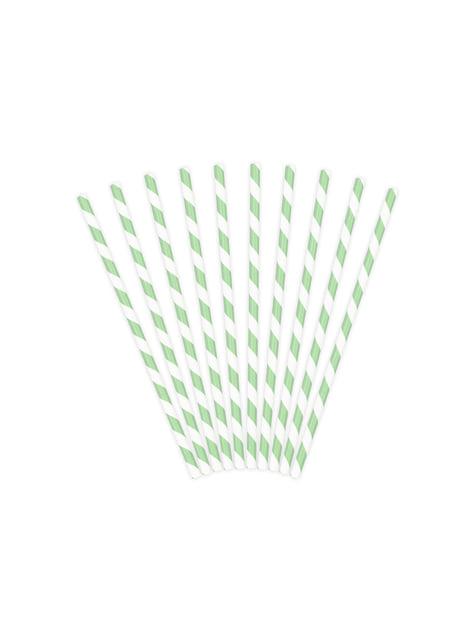 10 pajitas con rayas verdes menta de papel
