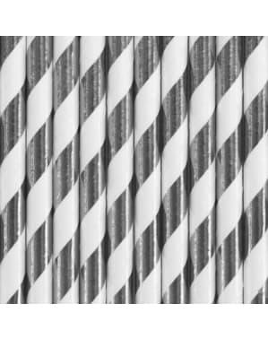 10 papperssugrör med silverfärgade ränder - Trick or Treat Collection