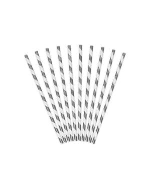 Papierstrohhalm Set 10-teilig mit silber Streifen - Trick or Treat Collection
