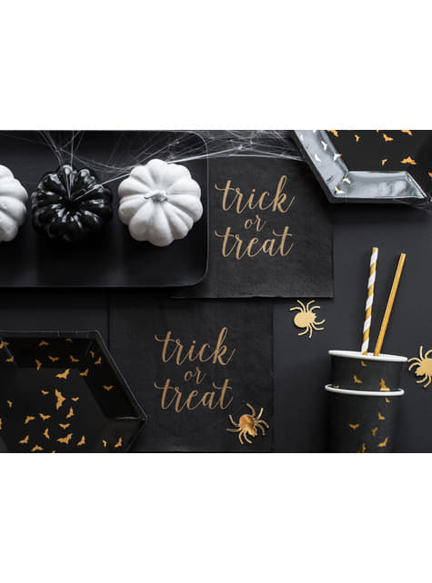 10 pajitas con rayas doradas de papel - Trick or Treat Collection