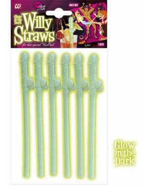 Fluorescent penis shaped straws