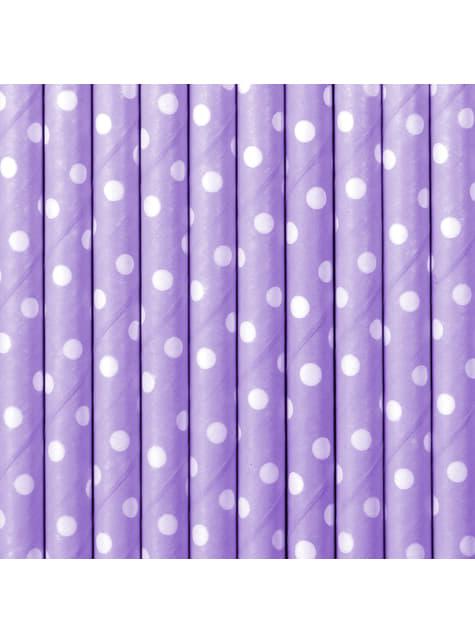 10 pajitas moradas con lunares blancos de papel