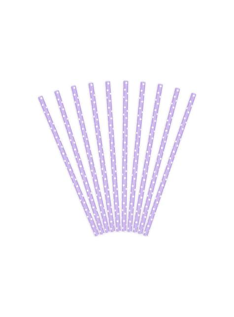 10 pailles violettes à pois blanches en papier