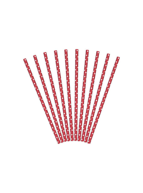 10 pajitas rojas con lunares blancos de papel - para tus fiestas