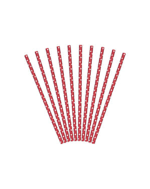 10 Red Paper Straws with White Polka Dots