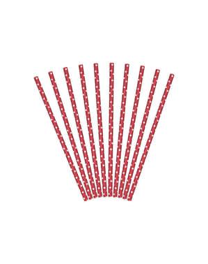 Sett med 10 Røde Papirsugerør med Hvite Polkaprikker