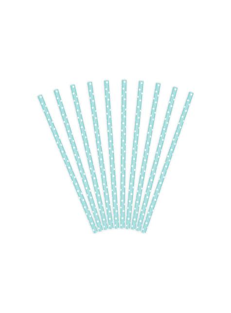10 pailles bleues pastel à pois blanches en papier