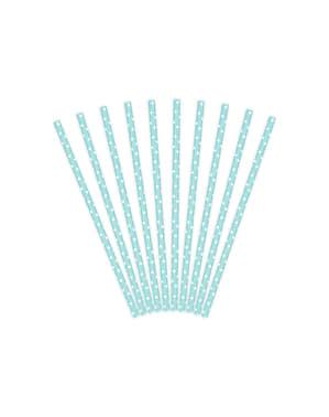 10 pajitas azules pastel con lunares blancos de papel