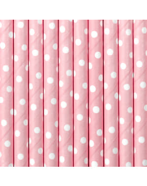 10 Pastel Pink Paper Straws with White Polka Dots - Gold Bridal Shower