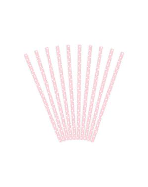 10 pailles roses pastel à pois blanches en papier - Gold Bridal Shower